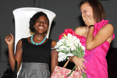"""<div class=""""source"""">Stevie Lowery</div><div class=""""image-desc"""">Shaija Camp and Aubrey Logan get tickled during the fashion show.</div><div class=""""buy-pic""""><a href=""""/photo_select/18269"""">Buy this photo</a></div>"""