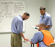 """<div class=""""source"""">Stevie Lowery</div><div class=""""image-desc"""">Inmates help each other study for the GED. In this particular session, two inmates are teaching math to a classroom of fellow inmates. </div><div class=""""buy-pic""""></div>"""