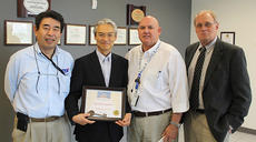 """<div class=""""source"""">Photo submitted</div><div class=""""image-desc"""">As part of the 10th anniversary of FTS North America, Lebanon Mayor Gary Crewnshaw presented Masahide """"Max"""" Sugimoto, the executive director of the FTS-Japan, with honorary citizenship in Lebanon and a key to the city during Sugimoto's recent visit to the community. FTS Kentucky has been in Marion County since 2008. From left, pictured are Hiroyuki Nishioka, president, FTS Kentucky; Masahide """"Max"""" Sugimoto, executive director FTS-Japan; Gary Crenshaw, mayor of Lebanon; and Tom Lund, executive director, Marion County Office of Economic Development. </div><div class=""""buy-pic""""></div>"""