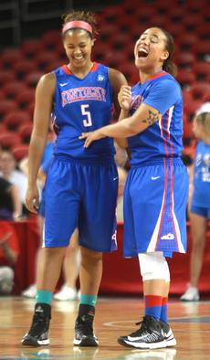 """<div class=""""source"""">Stephen Lega</div><div class=""""image-desc"""">Before tip-off Friday, Kyvin Goodin-Rogers (No. 5) and Makayla Epps share a laugh.</div><div class=""""buy-pic""""><a href=""""/photo_select/28116"""">Buy this photo</a></div>"""