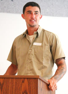 """<div class=""""source"""">Stevie Lowery</div><div class=""""image-desc"""">Austin Bynum, 23, has been incarcerated since he was 19. He said the R.E.A.C.H. program is helping him find a job before he's released from jail.  </div><div class=""""buy-pic""""><a href=""""/photo_select/56475"""">Buy this photo</a></div>"""