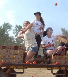"""<div class=""""source"""">Stephen Lega</div><div class=""""image-desc"""">From left, Jenna Cook, Holly Marie Combs and Shannen Doherty toss tomatoes from a cart passing between participants. </div><div class=""""buy-pic""""><a href=""""http://web2.lcni5.com/cgi-bin/c2newbuyphoto.cgi?pub=015&orig=07-30-14_tomato_conflict_pic_6.jpg"""" target=""""_new"""">Buy this photo</a></div>"""