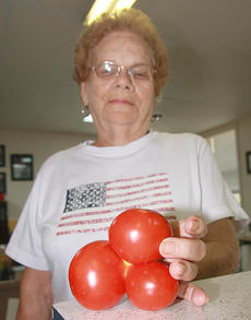 """<div class=""""source"""">Photo by Stephen Lega</div><div class=""""image-desc"""">Betty Spalding recently received some tomatoes from her friend Joe Osbourne. She discovered that three of those tomatoes had grown together. </div><div class=""""buy-pic""""><a href=""""/photo_select/29101"""">Buy this photo</a></div>"""