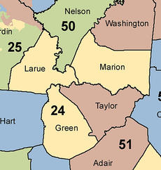 """<div class=""""source""""></div><div class=""""image-desc"""">House plan The 24th District of the Kentucky House of Representatives would include Marion, LaRue and Green counties under both the Democratic (above) and Republican redistricting plans.</div><div class=""""buy-pic""""></div>"""