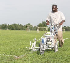 "<div class=""source"">Stephen Lega</div><div class=""image-desc"">Fonz Bowers paints lines on a youth soccer field Friday. Bowers is one of the community service workers who help maintain Graham Memorial Park. </div><div class=""buy-pic""><a href=""/photo_select/36679"">Buy this photo</a></div>"