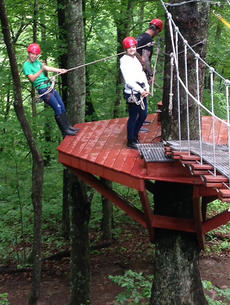 "<div class=""source"">Photo submitted by Kenny Mills</div><div class=""image-desc"">Rae Mills and Lucia Barela from Spain prepare to zip through the woods at Mammoth Cave.</div><div class=""buy-pic""></div>"