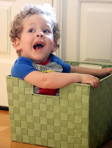 """<div class=""""source"""">Stevie Lowery</div><div class=""""image-desc"""">Eli attempts to hide from his physical therapist in a basket on Thursday morning. </div><div class=""""buy-pic""""><a href=""""/photo_select/57843"""">Buy this photo</a></div>"""