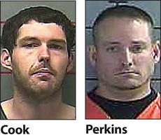"""<div class=""""source""""></div><div class=""""image-desc"""">Shawn Perkins, 35, and Michael Cook, 24, have been arrested on charges of providing contraband to prison inmates. Perkins is also facing a charge of trafficking with intent to distribute illegal narcotics.</div><div class=""""buy-pic""""></div>"""