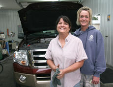 """<div class=""""source"""">Stephen Lega</div><div class=""""image-desc"""">Sisters Mary Michael Townley, left, and Pam Hutchins have been in the car cleaning and oil changing business for more than 20 years. </div><div class=""""buy-pic""""><a href=""""/photo_select/30520"""">Buy this photo</a></div>"""