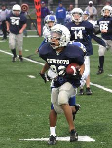 """<div class=""""source"""">Josh Veatch</div><div class=""""image-desc"""">Dominick White finds some running room and heads toward the end zone in the Cowboys win over the Springfield Colts at Campbellsville University. </div><div class=""""buy-pic""""><a href=""""/photo_select/23529"""">Buy this photo</a></div>"""