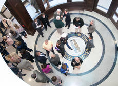 "<div class=""source"">Stephen Lega</div><div class=""image-desc"">Before the dedication ceremony, visitors gathered in the lobby to chat.</div><div class=""buy-pic""><a href=""/photo_select/16159"">Buy this photo</a></div>"