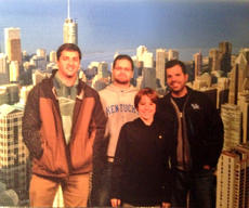 "<div class=""source"">Photo submitted</div><div class=""image-desc"">From left, Jordan Michael, Tyler Dunn, William Fowler, and Jerry Fowler stand in front of the Chicago skyline from the Sears Tower</div><div class=""buy-pic""></div>"