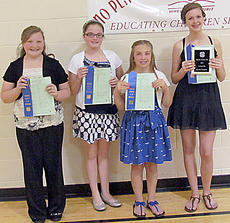 """<div class=""""source""""></div><div class=""""image-desc"""">Twelve-year-old winners are, from left, Morgan Pittman, Paige Mattingly, Lissy Walston, and Paige Thomas (Twelve Year Old County Champion). </div><div class=""""buy-pic""""></div>"""