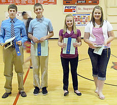"""<div class=""""source""""></div><div class=""""image-desc"""">Thirteen- and 14-year-old winners are, from left, Addison Riney ( Fourteen Year Old County Champion), G.J. Olde Loohuis, Caroline Reed, and Anne Kaitlyn Gribbins (Thirteen Year Old County Champion). Not pictured is  15-year-old County Champion Sarah Spalding.</div><div class=""""buy-pic""""></div>"""