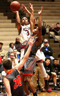 """<div class=""""source"""">Gerard Flanagan</div><div class=""""image-desc"""">Lez Means goes over a Frankfort defender for a shot attempt. Means led the Knights with 19 points.</div><div class=""""buy-pic""""><a href=""""/photo_select/54222"""">Buy this photo</a></div>"""
