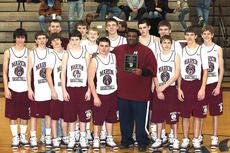 """<div class=""""source"""">submitted</div><div class=""""image-desc"""">The Marion County Knights freshman boys basketball team won the district championship Saturday after defeating the Campbellsville Eagles and the Taylor County Cardinals. Pictured are, front row from left, Luke Price, Anthony Mattingly, Dylan Spalding, Blake Higdon, Kyle Brockman, Coach Mark Bell, John D. Robinson, Alex Smith, and Brandon Knopp; back row from left, Coach Matthew Thomas, Clay Lanham, Evan Dye, Ben Woford, Bobby Jaglowicz and Jack Hagan.</div><div class=""""buy-pic""""></div>"""