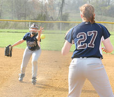 "<div class=""source"">Photo by Jessica Veatch</div><div class=""image-desc"">Second baseman Jordan Thomas flips the softball to first baseman Emily Fenwick to throw out a runner in a recent game.</div><div class=""buy-pic""><a href=""/photo_select/11471"">Buy this photo</a></div>"