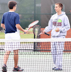 "<div class=""source"">Jessica Veatch</div><div class=""image-desc"">Senior Noah Swencki and junior Jacob Burdette celebrate a point against their opponents during a conference tournament doubles match. The duo has won the doubles crown in back-to-back years.</div><div class=""buy-pic""><a href=""/photo_select/19558"">Buy this photo</a></div>"