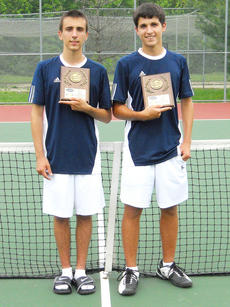 """<div class=""""source"""">Photo submitted</div><div class=""""image-desc"""">The doubles team of Noah Swencki and Jacob Burdette won the regional tennis tournament held last week in Elizabethtown. The duo will compete at state competition tomorrow in Lexington.</div><div class=""""buy-pic""""></div>"""