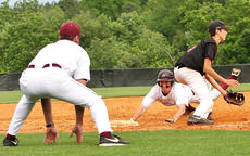 """<div class=""""source"""">Jessica Veatch</div><div class=""""image-desc"""">Marion County baseball coach Chad Spalding signals to senior Alex Gordon to dive into third base in the district game against Taylor County Thursday night in Adair County.</div><div class=""""buy-pic""""><a href=""""/photo_select/27544"""">Buy this photo</a></div>"""