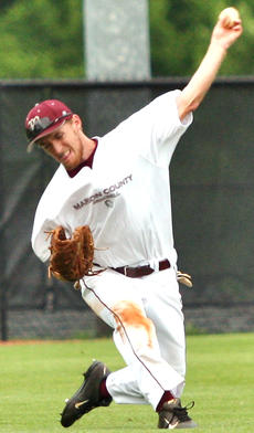 """<div class=""""source"""">Jessica Veatch</div><div class=""""image-desc"""">Senior Michael Costello throws the baseball in from left field after catching a fly ball in the district tournament game against Taylor County. </div><div class=""""buy-pic""""><a href=""""/photo_select/27540"""">Buy this photo</a></div>"""