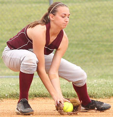 """<div class=""""source"""">Jessica Veatch</div><div class=""""image-desc"""">Freshman McKenzie Reynolds fields the ball at second base during the game against Washington County Thursday night at Talley Field.</div><div class=""""buy-pic""""><a href=""""/photo_select/19749"""">Buy this photo</a></div>"""