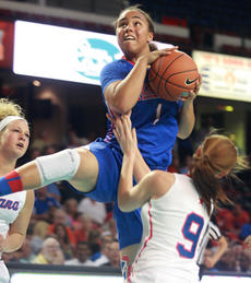 """<div class=""""source"""">Stephen Lega</div><div class=""""image-desc"""">Makayla Epps splits a pair of Indiana defenders to score two of her 17 points in Friday's win.</div><div class=""""buy-pic""""><a href=""""/photo_select/28122"""">Buy this photo</a></div>"""