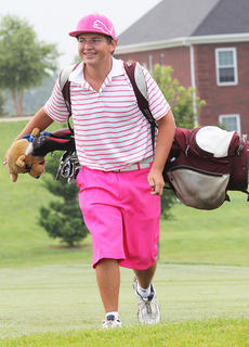 """<div class=""""source"""">Dennis George</div><div class=""""image-desc"""">Logan Medley has the Rickie Fowler look with his matching hot pink apparel during the Mussellman-Dunne tournament at Rosewood. </div><div class=""""buy-pic""""></div>"""