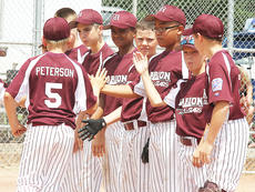 "<div class=""source"">Jessica Veatch</div><div class=""image-desc"">The Marion County All-Stars, shown earlier in the Kentucky State Little League tournament, are playing for state championship at 10 a.m. today against Warren County South.</div><div class=""buy-pic""><a href=""/photo_select/13489"">Buy this photo</a></div>"