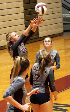 """<div class=""""source"""">Gerard Flanagan</div><div class=""""image-desc"""">Senior Savannah Goode gets under the ball during the Lady Knights' scrimmage on Aug. 10 against Bardstown at the Roby Dome. Also pictured from left to right are Mary Ann May, Isabella Glasscock and Chloe May. </div><div class=""""buy-pic""""><a href=""""/photo_select/57305"""">Buy this photo</a></div>"""
