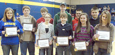 """<div class=""""source"""">Photo submitted</div><div class=""""image-desc""""> Bethlehem High School announced the recipients of the academic placement scholarships for the incoming class of freshmen, prior to homecoming ceremonies on Jan. 28. Those receiving scholarships were, back row from left, Lesley Downs (St. Joe), Cole Plouvier (St. Ann), Adam Carrithers (St. Joe), Seth McDowell (St. Joe), Taylor Gagne (Old Kentucky Home Middle School), and Lucas Carrico (St. Dominic); front row from left, Catherine Terrell (St. Joe), Sloan Seeger (St. Joe), Mary Wimsett (St. Joe), and Emma Lynch (St. Dominic). Not Pictured - Rebecca Bowman (St. Augustine) and Elijah Rosenbaum (St. Joe). </div><div class=""""buy-pic""""></div>"""
