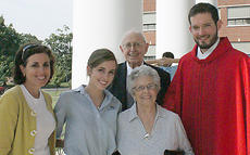 """<div class=""""source""""></div><div class=""""image-desc"""">Sophomore Charley Haydon with her mother Mary Stuart Haydon, her grandparents Maurice and Mary Jane Spalding, and Fr. Michael Wimsatt of St. Joseph.</div><div class=""""buy-pic""""></div>"""
