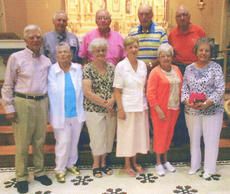 """<div class=""""source"""">Photo submitted</div><div class=""""image-desc"""">The St. Augustine High School Class of 1954 held a reunion June 23, 2012. The picture was taken at St. Augustine after Mass. There were 17 graduates with four deceased and three that could not make it. The 10 that were present are, front row, from left, Bill Borders, Ann """"Sissy"""" Durham Ball, Shirley Bland Thomas, Cathy Spalding Thompson, Praxie Thomas McQueary and Eva Bland George; back row, Robert Edwards, Stephen Varble, Robert Ford and Charles Lancaster.</div><div class=""""buy-pic""""></div>"""
