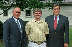 "<div class=""source"">Photo submitted</div><div class=""image-desc"">Jason Miracle of Campbellsville (center) is greeted by J. Fritz Giesecke, Second Vice President of Kentucky Farm Bureau (left), and David S. Beck, Executive Vice President of Kentucky Farm Bureau (right), during the 2011 Institute for Future Agricultural Leaders (IFAL).</div><div class=""buy-pic""></div>"