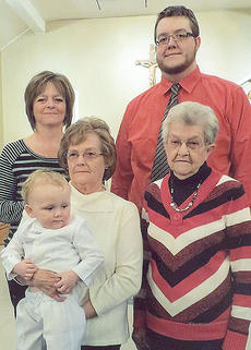 """<div class=""""source"""">Photo submitted</div><div class=""""image-desc"""">Pictured are five generations of the Wise family taken at Connor Bailey's baptism at Our Lady of the Hills Catholic Church in March 2013. They are front row, from left, Connor Bailey, Betty Gupton, and Alma Wise; and back row, Becky Bailey and Ryan Bailey.</div><div class=""""buy-pic""""></div>"""