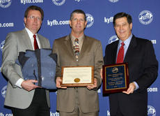 """<div class=""""source"""">submitted</div><div class=""""image-desc"""">The Marion County Farm Bureau was recognized for outstanding membership and program achievement during the recent 91st Kentucky Farm Bureau annual meeting in Louisville. Here, Joe Paul Mattingly, center, accepts the award from David S. Beck, right, Kentucky Farm Bureau executive vice president, and Bradley R. Smith, executive vice president of Kentucky Farm Bureau Insurance Companies, during a Dec. 3 recognition and awards program.</div><div class=""""buy-pic""""></div>"""