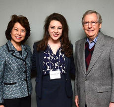 """<div class=""""source"""">Photo submitted</div><div class=""""image-desc"""">Pictured is Hannah Wilson with Sen. Mitch McConnell and Sec. Elaine Chao. </div><div class=""""buy-pic""""></div>"""