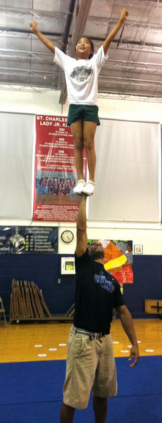 """<div class=""""source"""">Photo submitted</div><div class=""""image-desc"""">Corey Brown, a former University of Kentucky national champion cheerleader, recently worked with the St. Charles Middle School cheerleaders to help them prepare for competition.</div><div class=""""buy-pic""""></div>"""