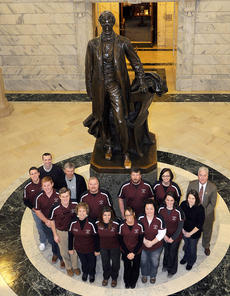 "<div class=""source"">Photo submitted</div><div class=""image-desc"">On Friday, State Rep. Terry Mills, right, welcomed Leadership Lebanon/Marion County to the state Capitol. Here, the group is shown in the Rotunda at the base of the statue of Abraham Lincoln. Rep. Mills spoke to the group about the ongoing work of the General Assembly, which is meeting now through mid-April.</div><div class=""buy-pic""></div>"
