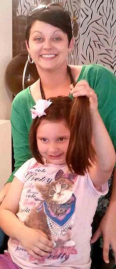 """<div class=""""source"""">Photo submitted</div><div class=""""image-desc"""">Rose Mattingly cut 11 inches off her hair and donated it to Locks of Love. Pictured with Mattingly is Brittianey Sapp at Twisted Shears. </div><div class=""""buy-pic""""></div>"""