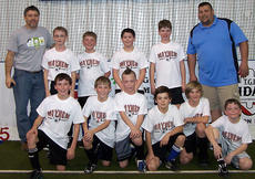 """<div class=""""source"""">Photo submitted</div><div class=""""image-desc"""">Marion County Mayhem U12 Indoor Soccer Team finished the winter indoor session in third place out of 12 teams and undefeated with a record six wins zero losses two ties. Pictured, front row from left, Blake Thompson, Justin Elder, Ethan Spalding, Logan Spalding, Jonah Gillespie and Noah Spalding; back row from left, Coach Chad Hood, Brandon Lee, Cameron Huff, Colby Hood, Conner Higdon and Coach Greg Huff.</div><div class=""""buy-pic""""></div>"""