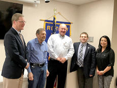 """<div class=""""source""""></div><div class=""""image-desc"""">State Representative Brandon Reed stopped by to speak to the Marion County Rotary Club on Tuesday, April 11. Pictured from left, George Spragens, Jerry Helm, Tim Trottier, Brandon Reed, and Leizel Miles. </div><div class=""""buy-pic""""></div>"""