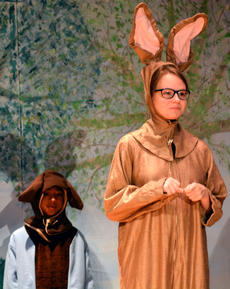 """<div class=""""source""""></div><div class=""""image-desc"""">Sarah Phelps plays the part of the Rabbit. Also pictured is Zakias Newby playing the part of Roo. </div><div class=""""buy-pic""""></div>"""