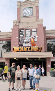 """<div class=""""source"""">Photos submitted</div><div class=""""image-desc"""">Clydine Sanders, second from left, with four of her children, David, Cathy, Artie, and Martha Tungate Sanders stopped in front of the Hershey factory.  </div><div class=""""buy-pic""""></div>"""