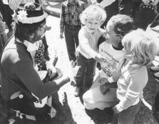 """<div class=""""source"""">the late Steve Lowery</div><div class=""""image-desc"""">This photo was taken by my father in 1982 during the Marion County Country Ham Days festival. I am pictured on the left, explaining to Boho the Clown that I am a girl, just like my twin sister, Rachel. Boho always liked to tease me and say that I was a li</div><div class=""""buy-pic""""><a href=""""/photo_select/2627"""">Buy this photo</a></div>"""