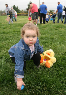 Kaylee McElroy, 2, of Lebanon took her egg hunting seriously.