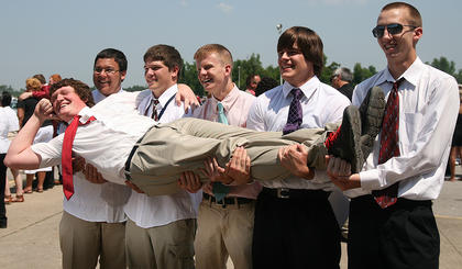 Curt Nalley was held up by Dakota Sims, Jeremy Mattingly, Blair Gorley, Clark Spalding and David Hamilton after the 2012 Marion County High School graduation ceremony. Sadly, Nalley died in a car accident in July, just months after graduating from MCHS.