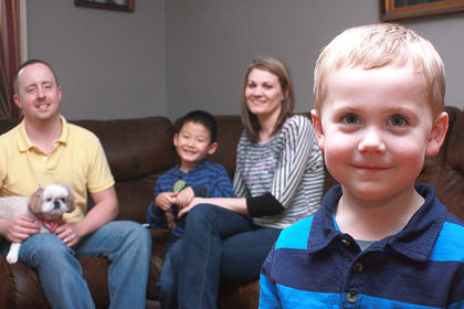 Avery Adams, far right, celebrated his first real birthday on Feb. 29. He is pictured with his parents, Bill and Beth Adams and his older brother, Camden. Avery is one of a handful of Marion Countians born on Leap Day.