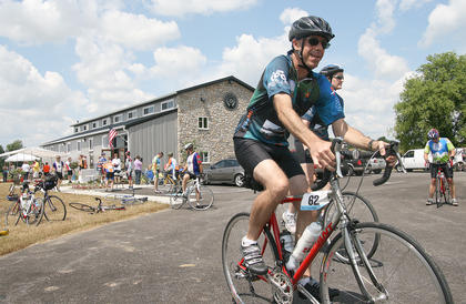 Bike the Bluegrass participants leave Limestone Branch Distillery in June for the next leg of their ride.  The event is held to raise money to find a cure for Multiple Sclerosis.