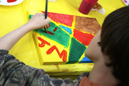 Jacob McCrosky painted his initials on the front of his masterpiece.